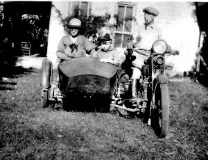 Ralphs Motorcycle at Swope House About 1921