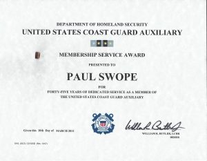 Paul G. Swope - United States Coast Guard Auxiliary Membership Service Award - 45 years of service