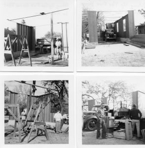 Building new metal Fire House about 1950